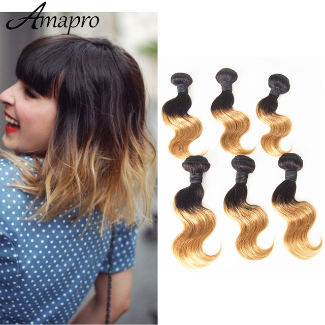 Amapro Hair Products 6pcs 10inch Body Wave Blonde Hair Extensions