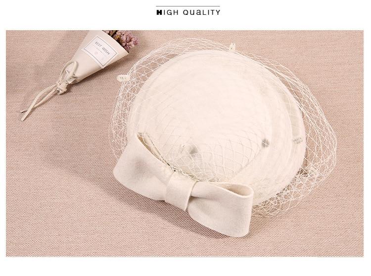 Acquista QPALCR Classic Fascinating Wool Felt Hats Women Mesh ... 72584c42803f