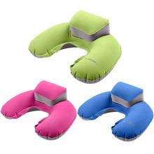 2017 Portable Travel Pillow Inflatable Neck Pillow U Shape Blow Up Neck Cushion PVC Flocking Pillow for Flight Travel