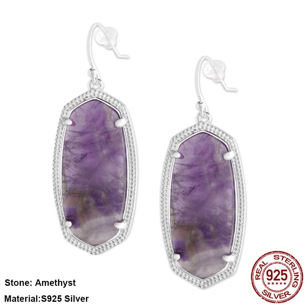 S925 Silver Shell Natural Stone Jewelry Pendant Drop Earring KS Elle Elisa Earrings For Women Luxry Wedding Gift GM6009
