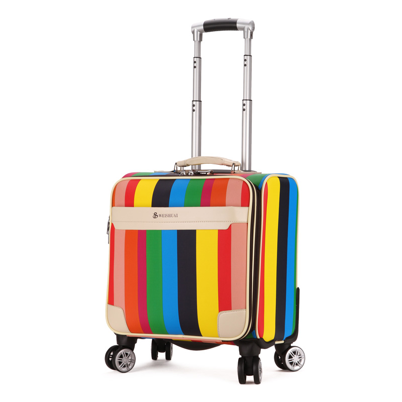 Fashion trolley luggage universal wheels 18 travel luggage bag fashion portable small suitcase female color stripe password box 2024inch universal wheels luggage abs mute rolling travel bag password lock trolley suitcase colorful hand pull box