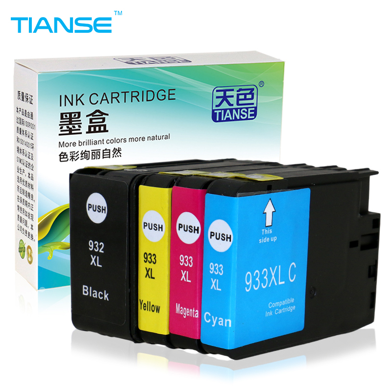 TIANSE ink cartridge for HP 932 XL 933 HP932XL for HP 932XL 933XL HP932 XL For HP Officejet 6100 6600 6700 7110 7610 7612 1 set xpro iii series true color pigment ink ciss for hp officejet 7110 7610 7612 6600 6700 printers continuous ink system