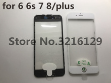 20pcs cold press 3 in 1 Front Screen Glass With Frame OCA For iphone 5 5s 5c 6 6s 7 7g 8 8p plus repair black white Replacement