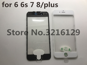 Image 1 - 20pcs cold press 3 in 1 Front Screen Glass With Frame OCA For iphone 5 5s 5c 6 6s 7 7g 8 8p plus repair black white Replacement