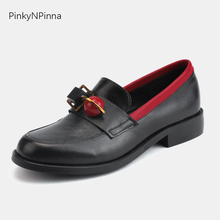 super cute women genuine leather cowhide loafers low heels metallic beads black chic preppy office casual shoes plus size 44 цена