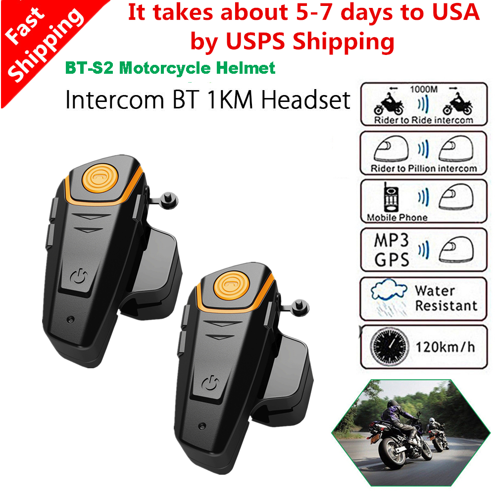 2 Pcs BT-S2 Pro Wireless Bluetooth Motorcycle Helmet Intercom 1000m Motorbike Helmet Headset IP67 Waterproof FM Radio Interphone