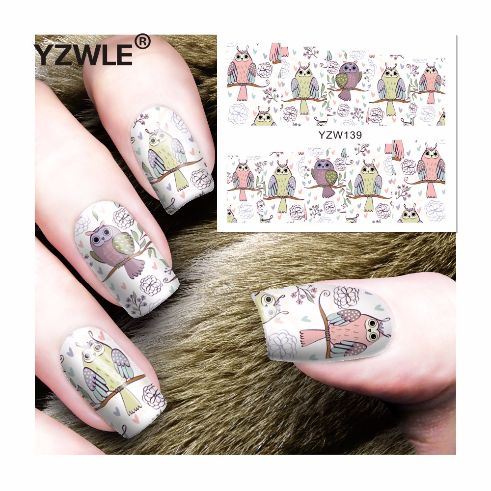 YZWLE 1 Sheet DIY Decals Nails Art Water Transfer Printing Stickers Accessories For Manicure Salon (YZW-139) yzwle 1 sheet hot gold 3d nail art stickers diy nail decorations decals foils wraps manicure styling tools yzw 6015