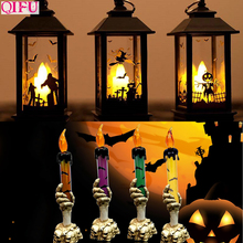 QIFU Halloween Portable LED faro vela lámpara Halloween 2019 decoración del hogar Halloween calabaza bruja accesorios fiesta suministros