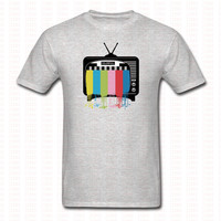 Fashion Raibow Television T Shirt HipHop Funny Short Sleeve Casual Cotton Shirts Men Women Street Brand