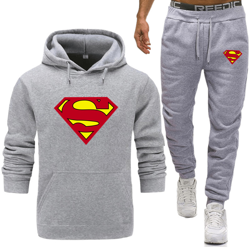 Casual Tracksuit Mens Superman Set Winter Brand Two Piece Sets All Cotton Inner Fleece Thick Hooded 2PC Jacket + Pants Sporting