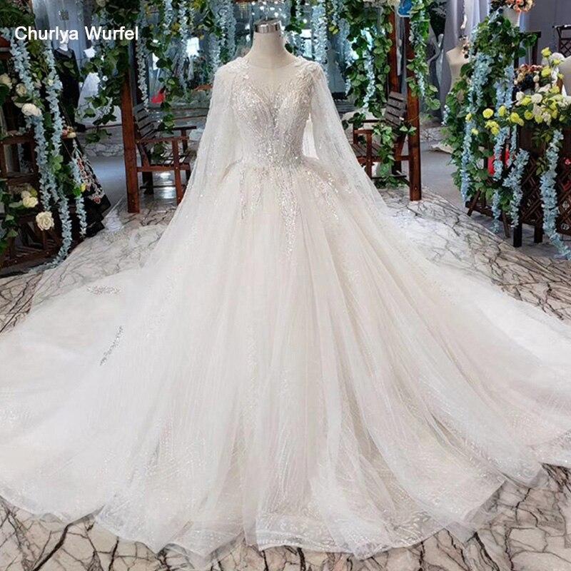 HTL487 princesse robes de mariée indiennes avec cape o-cou cap manches paillettes appliques robes de mariée robe de mariée princesse