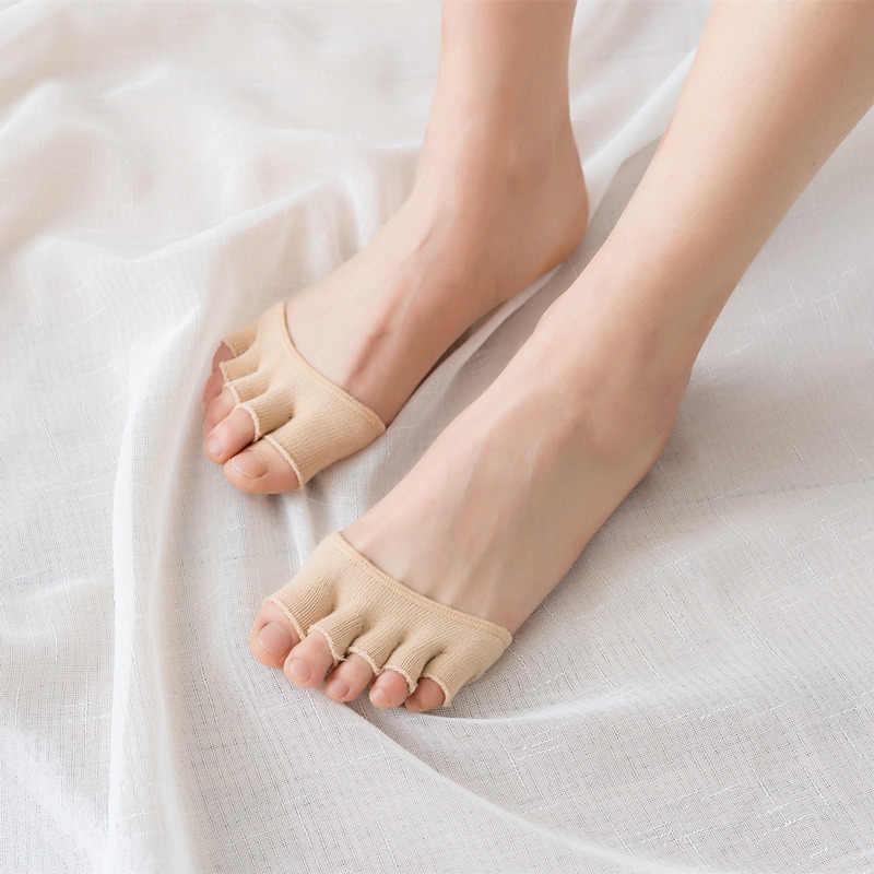 2Pairs Frauen Toe Stil Socke Pad Unsichtbare Mode Fünf Finger Baumwolle Halb Fuß Bunte Einfache Sommer Weiche Peds & Liner