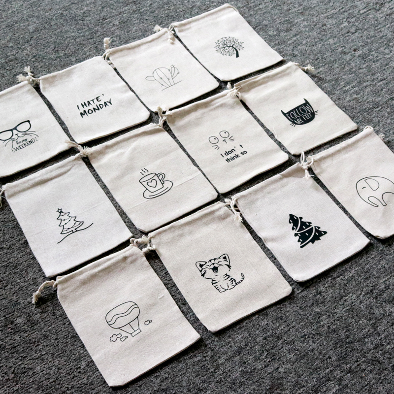 5pcs/lot Natural Color Cotton Bags 10x14 13x18cm Linen Drawstring Gift Bag Muslin Pouch Bracelet Candy Jewelry Packaging Bags