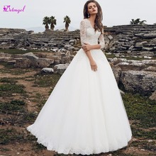 Detmgel Sexy V-Neck Half Sleeve A-Line Wedding Dress 2019