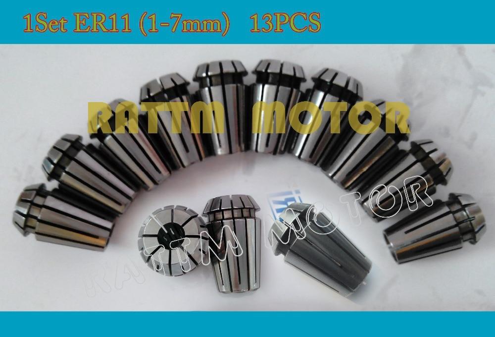 Full set ER11 (1-7mm)13pcs collet beating 0.1mm precision spring collet for CNC milling lathe tool 13pcs lot er11 1mm 7mm beating 0 015mm precision spring collet for cnc milling lathe tool and spindle motor