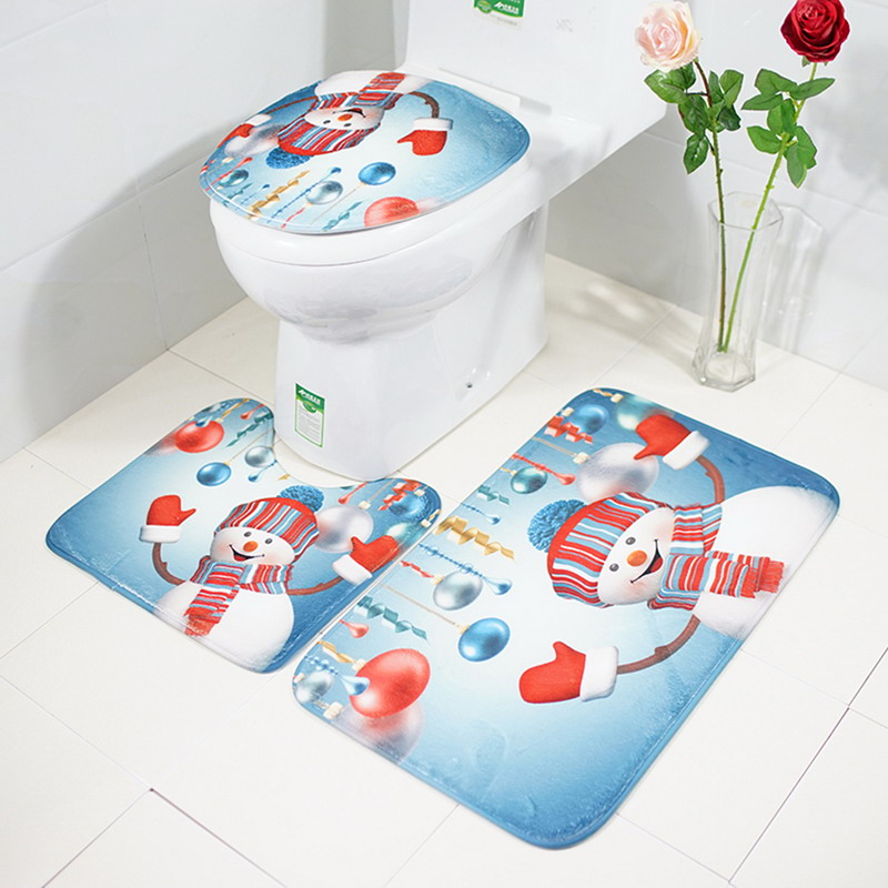 3Pcs Bathroom Products Non-Slip Ocean Underwater Skidproof Pedestal Rug + Lid Toilet Cover + Bath Mat