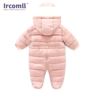 Image 2 - Ircomll Winter Infant Baby Girl Boy Romper Autumn Jumpsuit Hooded Inside Fleece Toddle Winter Autumn Overalls Children Outerwear