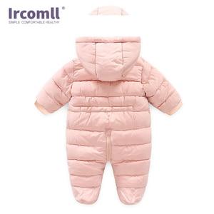 Image 2 - Ircomll Winter Infant Baby Girl Boy Romper Autumn Jumpsuit Hooded Inside Fleece Toddle Winter Autumn Overalls Children Outerwear