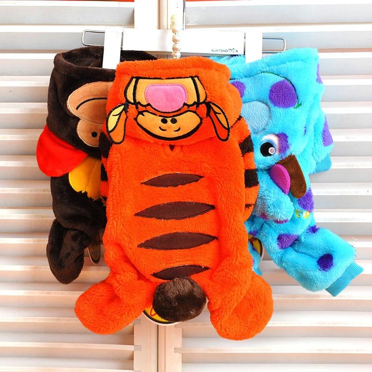 Téli meleg fleece kis kutya kabát ruha kabát vicces kutya macska tigris majom dinoszaurusz jelmez kabát Jumpsuit jumpers