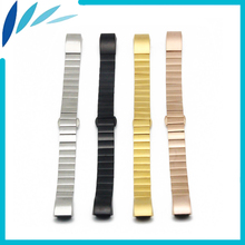 Stainless Steel Watch Band 13mm for Fitbit Charge 2 Smart Watchband Butterfly Clasp Strap Loop Wrist Belt Bracelet Black Silver