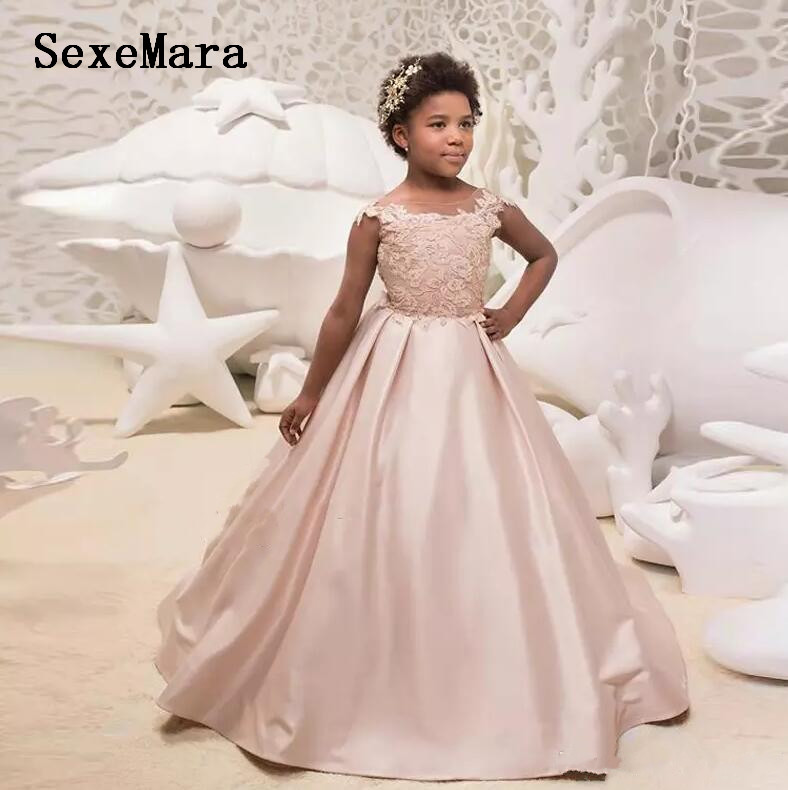 Blush Pink Sheer Neck Girls Dresses Lace Top Satin Long Flower Girls Dress Kids Birthday Party Gown Christmas Dress Size 2-16Y sony mdr zx770bt mdrzx770btl e полноразмерные наушники c микрофоном blue