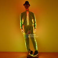 Dance costumes Luminous Pants Suits Glowing Hat LED Clothing Talent Show Men/Woman Glowing Clothes With Dance Dress Accessories
