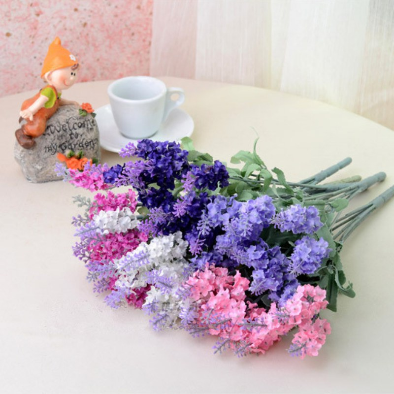 10 Heads Artificial Flowers Lavender Fake Bridal Bouquet Home Party Decor Wedding Valentine Decorations Artificial Fake Flowers