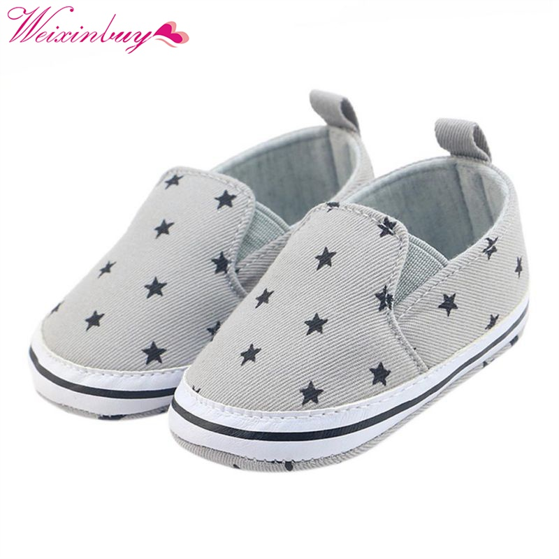 2017 Spring/Autumn Infant Prewalker Toddler Girls Kid Gray Star Print Soft Anti-Slip Crib Cotton Shoes 0-18 Months