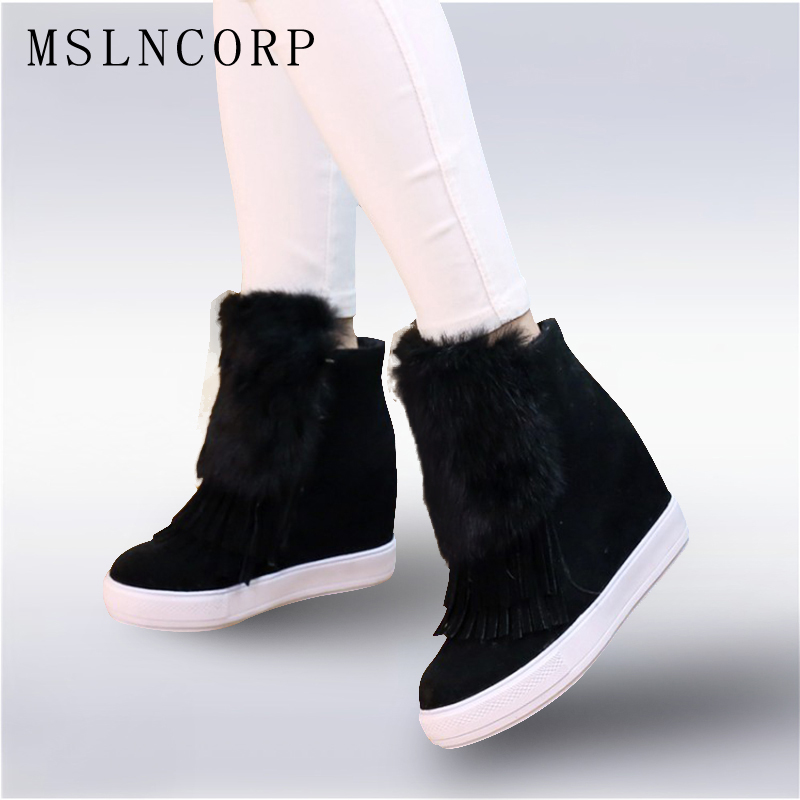 цены Size 34-45 Fashion Height Increasing Platform Ankle Women Boots Shoes Suede Nubuck winter Boot Woman tassel Fur warm snow boots