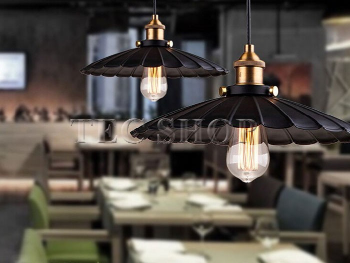 ZYY 1pcs Vintage American Industrial Light LOFT Retro Nostalgia Lamp Cafe bar Restaurant LED Lamps Black Umbrella Pendant Lights - 5