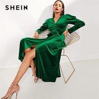 SHEIN Green Elegant Party Solid Puff Sleeve Tie Waist Split Side Surplice Wrap Long Sleeve Dress Autumn Modern Lady Dresses