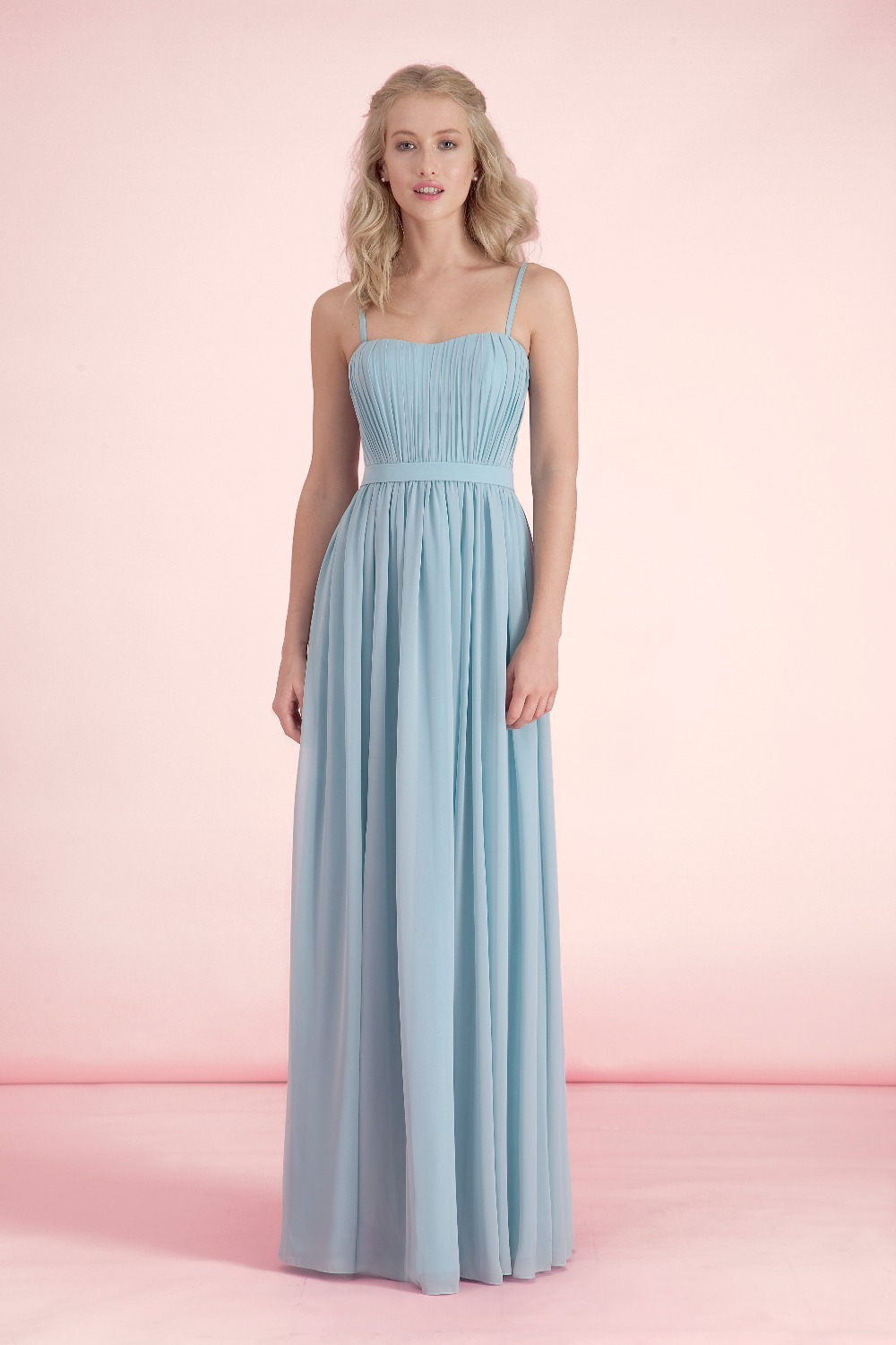 Summer Long A Line Pastel Blue Bridesmaid Dresses Wedding