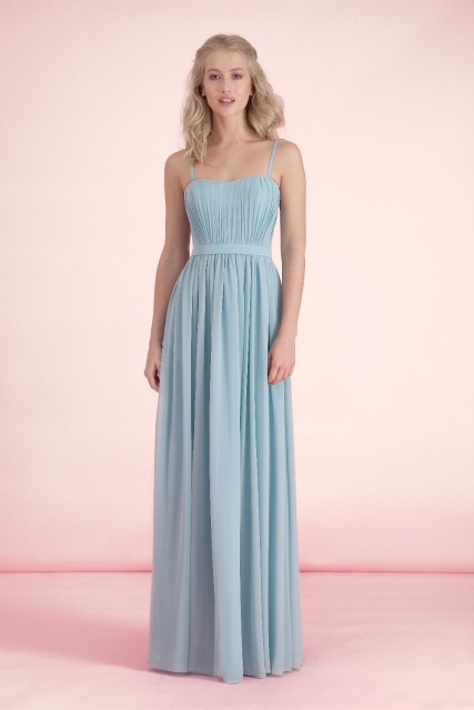 Summer Long A Line Pastel Blue Bridesmaid Dresses Wedding Party