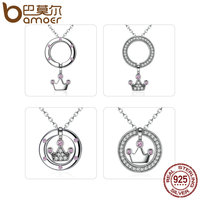 BAMOER DIY Style 100 925 Sterling Silver Circle With Pink Crown Inside Pendant Necklaces Women Fashion