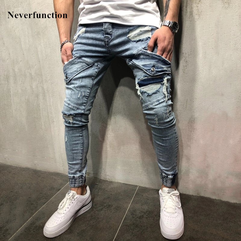 Free shipping streetwear hip hop Ripped Skinny biker jeans destroyed Stretch cotton denim trousers Plus Size 40 hot Dropshipping