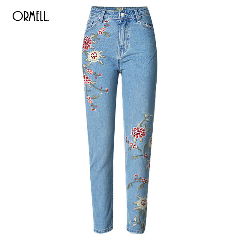 ORMELL 2017 Spring Flower Embroidery Jeans Female Light Blue Casual Pants Capris Summer Streetwear Straight Jeans Women Bottom fashion flowers embroidery jeans woman blue casual pants capris 2017 spring summer denim jeans female bottom trousers clothing