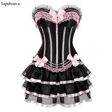 Sapubonva vestido com saia para mulheres, espartilho burleso vintage listrado floral de renda plus size