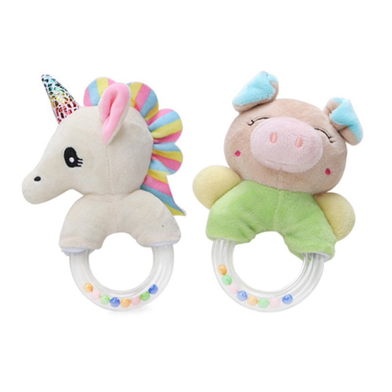 Baby Toy Unique Soft Rattle Cartoon Animal Cute Plush Infant Developmental Toys For Toddlers Appease Newborn Seahorse Pig(China)