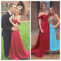 Lindo Off The Shoulder A Line Long Dark Red Pleat Chiffon Prom Dresses Fast Shipping 2017 Marsala Backless Court Train 57213