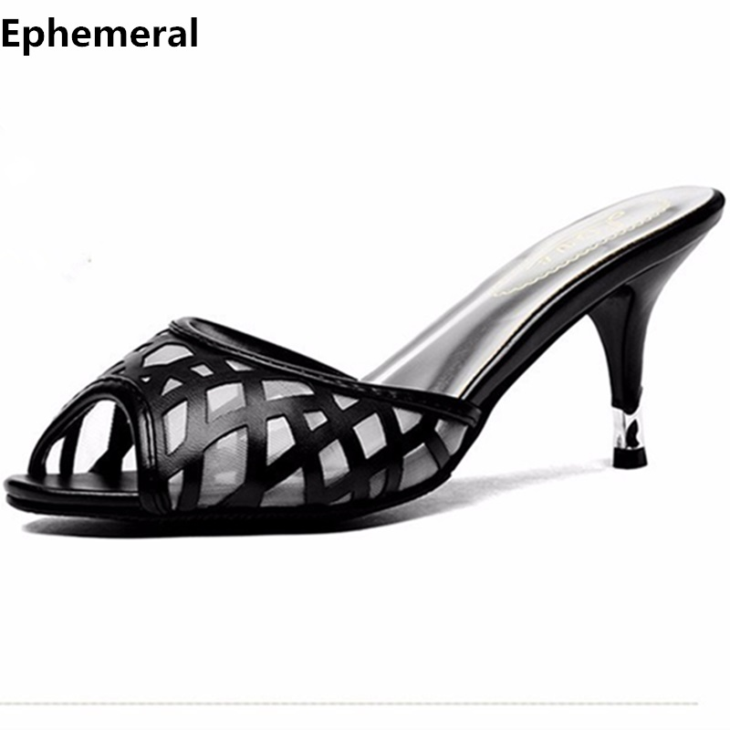 Lady's Plus size EU42 43 Air Mesh Thin High Heels Sandal Sexy Summer Peep Toe Shoes Women Pumps Slides high heels slippers black brown women slippers super high heels with platform slides scarpe donna sandali 2017 fashion summer women shoes plus size