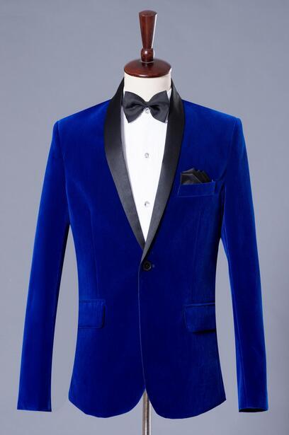 Blue stage formal dress marriage suits blazer slim mens blazers set ...