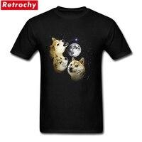Génial Nouveauté Shiba Inu 3 doge lune chemise Japonais Anime chien T Chemises Groupe Manches Courtes de Père Jour XXXL Tee chemises