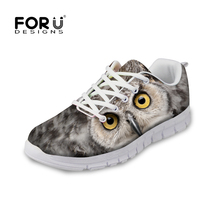 FORUDESIGNS Fashion 3D Animals Pattern Men's Casual Shoes Leisure Owl Panda Printed Boy Flats Breathable Male Lace-up Walk Shoes