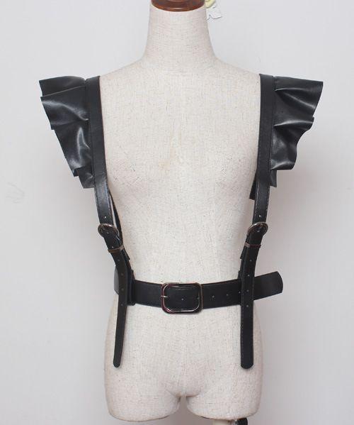 Mujeres libres del envío oscuro calle roca del cuerpo de la correa cinturones hebillas ajustables tirantes de cuero hip hop discotecas Punk cinturón