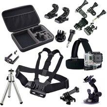 Action Camera Travel Accessories set Go pro Head Chest Belt Strap Mini Tripod Mount Kit for Gopro Hero 2 3 4 3+ SJCAM Xiaomi Yi