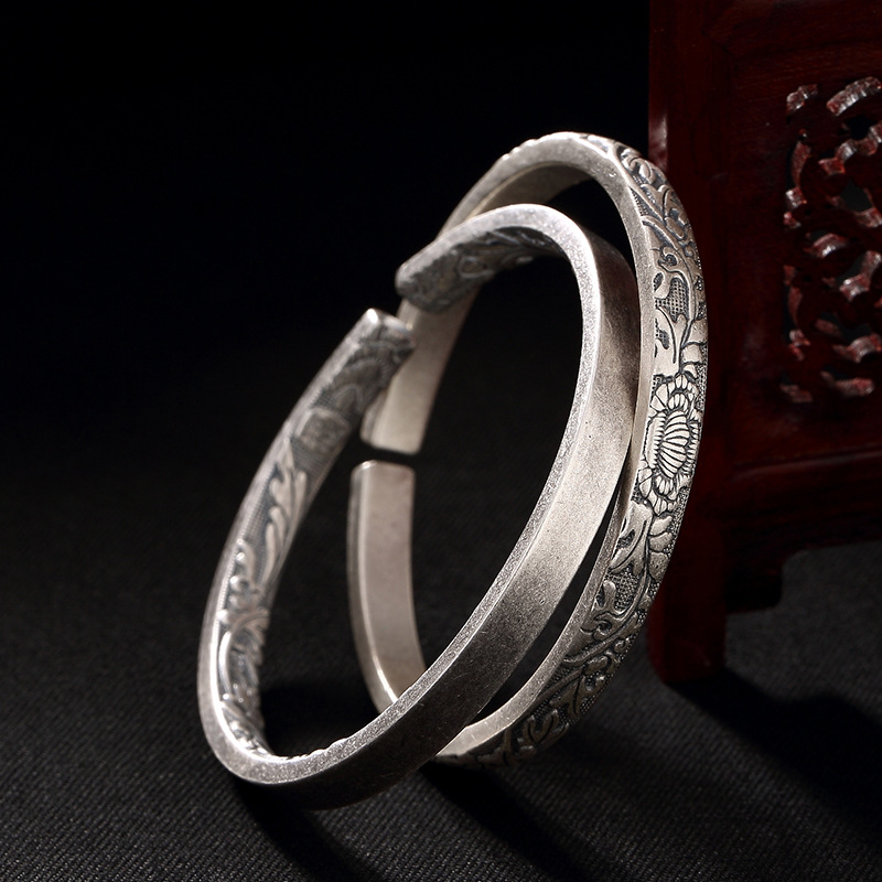 Fashion, Silver, S999, Pure Silver, Antique, Flowery Beautiful, With Silver Bracelet.