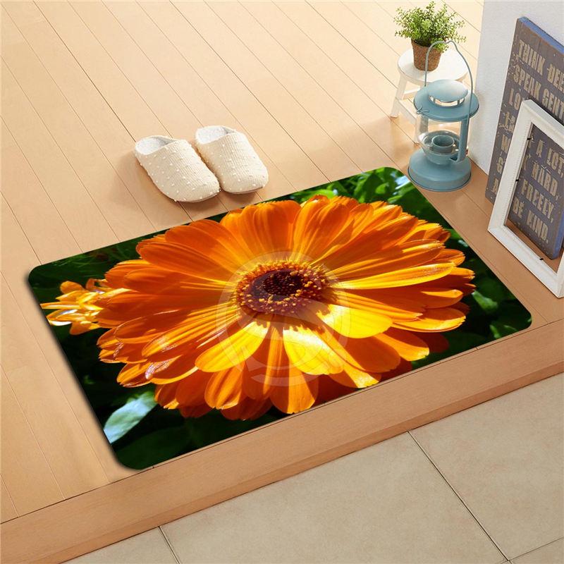 Ua7 Custom on Karens orange colorful flowers Doormat Home Decor Door mat Floor Mat Bath Mats foot pad 718!!FLw7