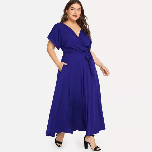 Summer Loose Comfort Large Size Women's Solid Maxi Dress Short Sleeve V-neck Strap Elegant Long Evening Party Dresses Plus Size 1