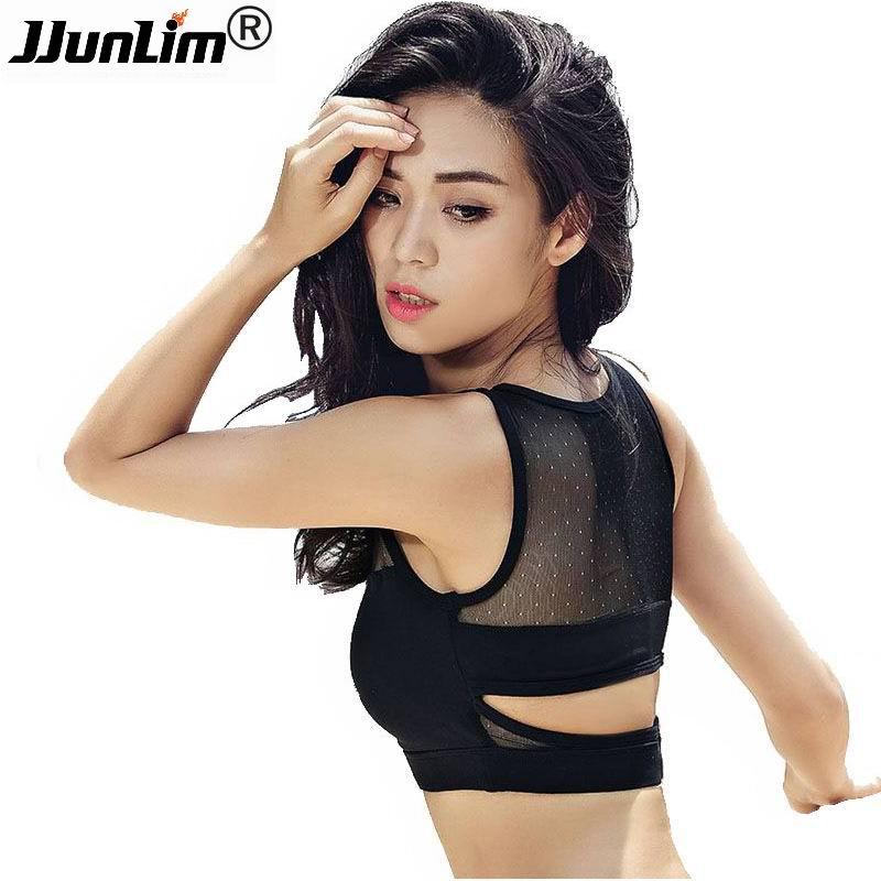 JJunLiM 2017 Nouveau Soutien-Gorge de Sport de Course Top Sexy Maille Yoga Soutien-Gorge Femmes Running Fitness Sport Soutien-Gorge Top vêtements Antichoc Sport