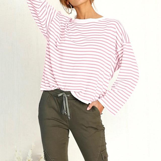 Women Autumn red Horizontal stripes Sweatshirt Long Sleeve O Neck white  Pullover Tops Blouse short shirts ropa juvenil mujer 2e72069f5